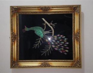 تابلوی طاووس سرمه دوزی