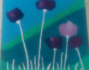 تابلوی رنگ روغن گل و فانتزی
