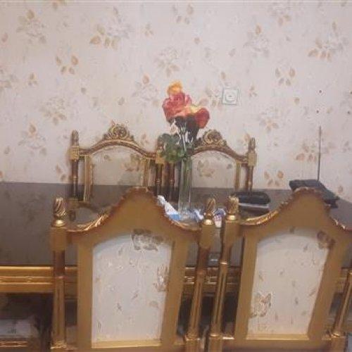 مبلمان استیل ۷نفره مدل کله قوچی با میز ناهارخوری ۶نفره