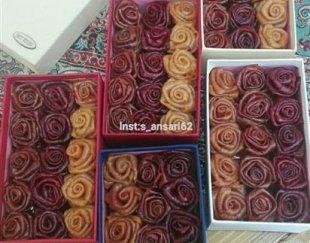 جعبه هدیه لواشک خانگی به شکل گل رز