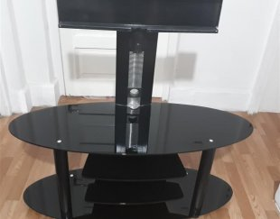 میز تلویزیون شیشه ای مشکی ال سی دی
