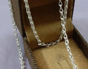 زنجیر نقره مدل دم روباهی تمام دستساز