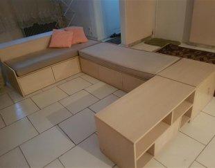 مبل یو شکل با میز زیر تلویزیونی