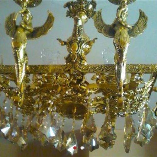 لوستر ۶شاخه برنز فرشته مستطیل