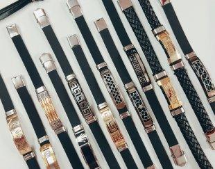 دستبند استیل و چرم اسپورت