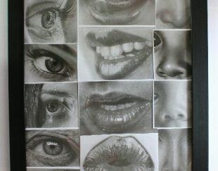 تابلو نقاشی چهره تکنیک سیاه قلم هایپر رئال
