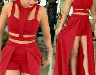 لباس مجلسی سه تیکه قرمز رنگ جودون اعلاء
