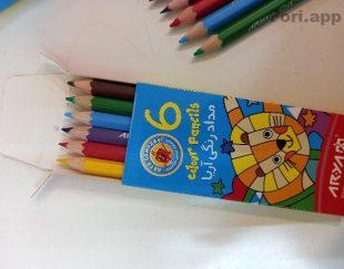 مداد رنگی ۶ رنگه آریا