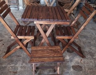 میز و صندلی تاشو چوبی