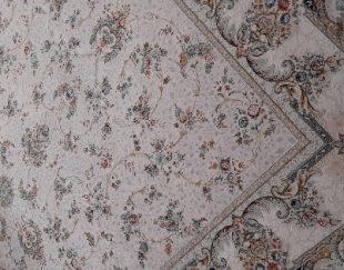 فرش ۱۲۰۰ شانه کاشان ارغوان ترمه نقره ای