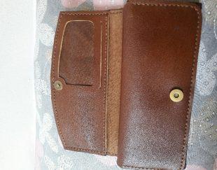 کیف پول چرم طبیعی کاملا دست دوز