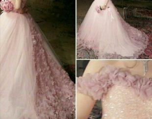 لباس عروس رنگی بالاتنه کریستال