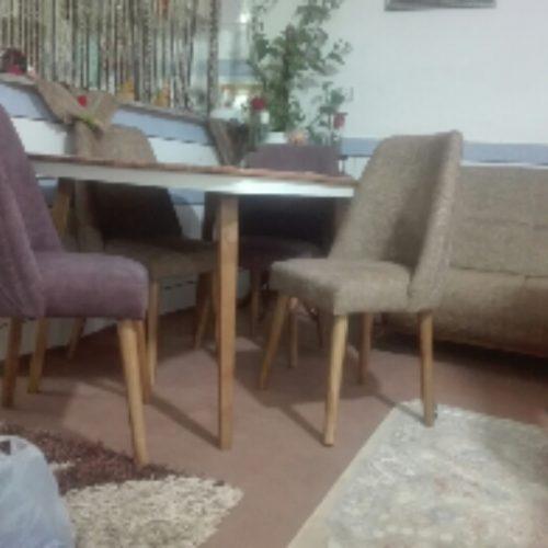 مبل هفت نفر میز نهار خوری چهار نفر وساعت قدی