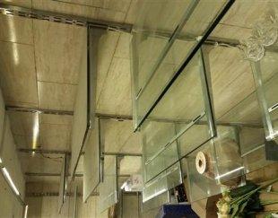 فروش قفسه شیشه ای با پایه استیل و ویترین ام دی اف