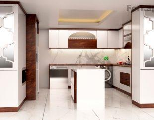 طراحی سه بعدی کابینت آشپزخانه، نما، دکوراسیون داخلی
