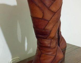 کفش بوت بلند چرم طبیعی کاملاً نو و سالم سایز ۴۰