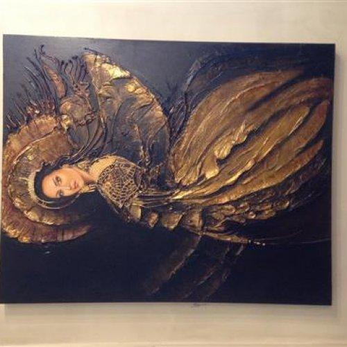 تابلو نقاشی میکس مدیا رنگ وروغن