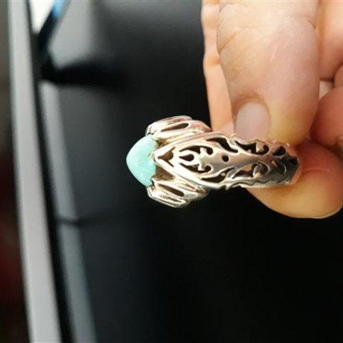 انگشتر فیروزه نیشابور (تراش عبدالرزاقی )زیبا