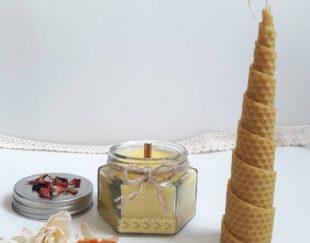 شمع های زیبای گیاهی موم عسل و شیشه ای و شات
