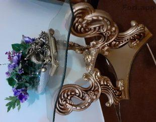 مبل استیل سلطنتی هفت نفره  کارشده با ورق طلا به همراه میز نهار خوری