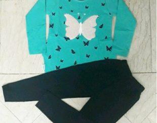 بلوز شلوار دخترانه طرح پروانه پولک برگردون سایز۴۵و۵۰