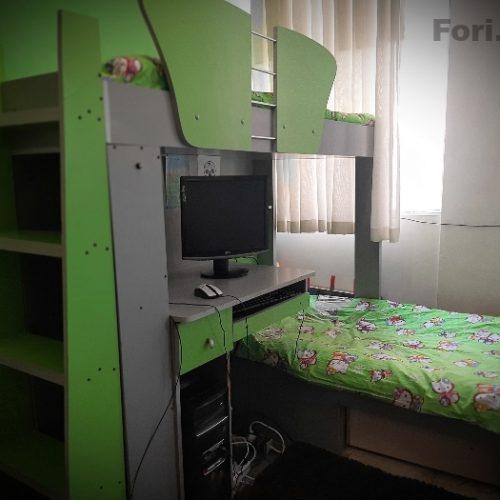 تخت دو طبقه کمجا نوجوان همراه با میز کامپیوتر کمد کودک و کتابخانه همه در یک ست کم جا