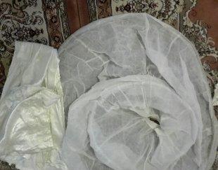 لباس عروس نباتی رنگ همراه با تورسرونگین سروشنل وچادرسر