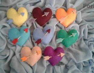 قلب های رنگی و قرمز نمد در طرحهای مختلف