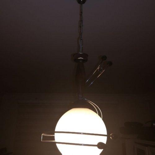لوستر حباب دار چوبی و سفید رنگ
