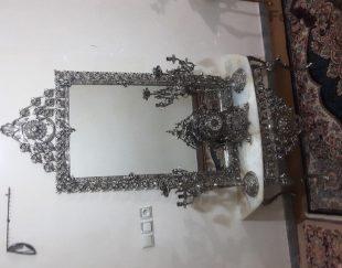 آینه شمعدان برنجی باسنگ مرمری زیبا سنگین وزن