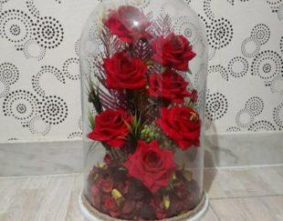 گل شیشه ای رز مصنوعی
