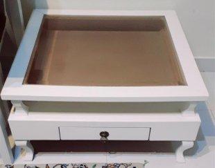 میز ۸۰×۸۰ سفید در حد نو