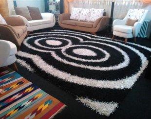 فرش فانتزی ۶متری سفید مشکی
