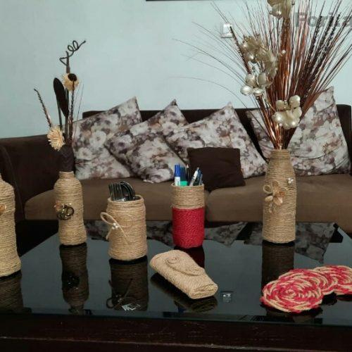 محصولات کنفی دستباف ،گلدان،رومیزی،پادری،…..